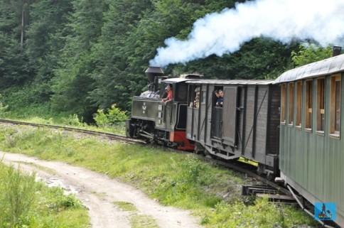"""The last Steam Train in Europe, """"Mocănita"""" from Viseu de Sus (Upper Viseu) crossing Vaser Valley, Maramures County"""