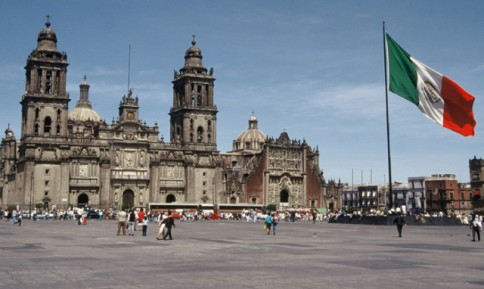 Zócalo Plaza is the largest and most famous in Mexico City