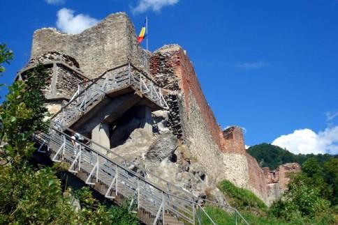 Medieval Poenari Citadel lies on top of Cetatuia Mountain