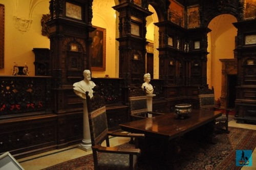 The Honor Hall of Peles Castle enriched with statues and decorations