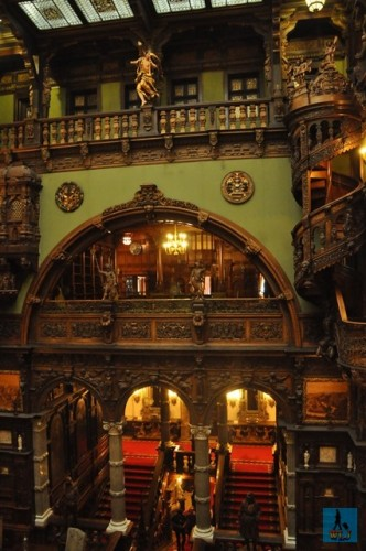 Overview of the Grand Staircase and Honor Hall of Peles Castle