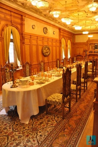 Rich in decorations and a fine art example is the Dining Room at Pelisor Castle
