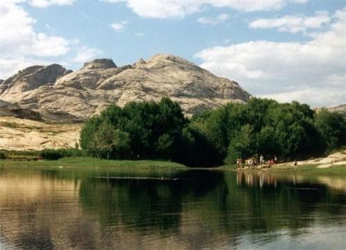 Silent and beautiful mountains of Bektau-Ata nor far from Lake Balkhash