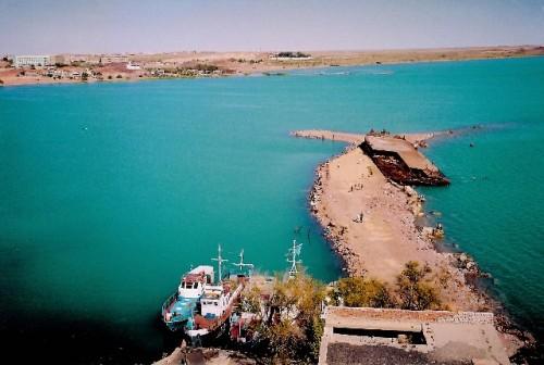 The pier close to Balkhash city on the northern shore of Lake Balkhash