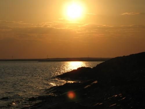 Beautiful sunset over Lake Balkhash