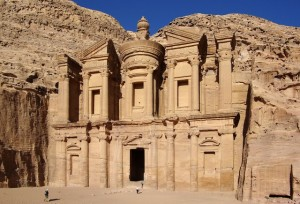 The splendid Treasury, the facade that you see first time before entering Petra in Jordan