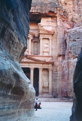 Following the narrow canyon called Siq, you finally get to Petra in Jordan