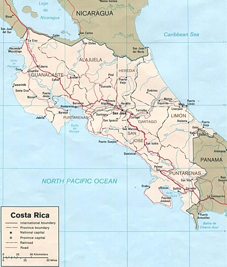 Costa Rica Map Wlj