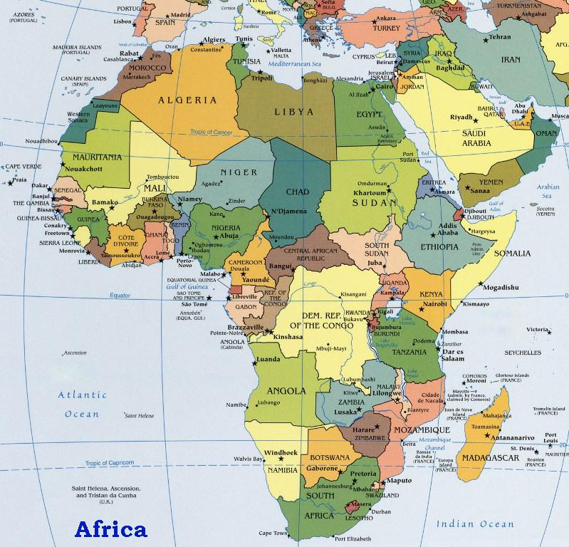 Africa Harta Fizica Pe Verso Harta Politica A Africii